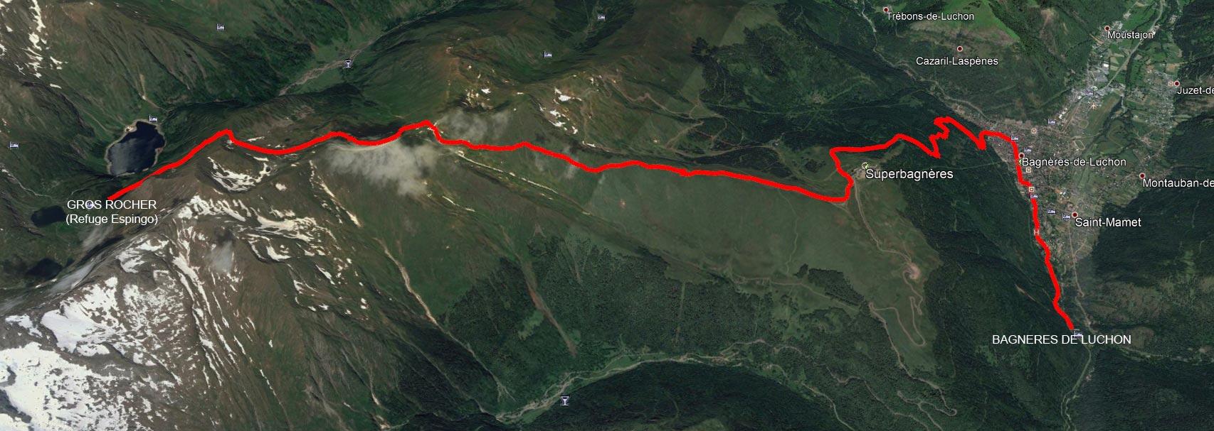 Gros rocher Refuge Espingo à Bagnères de Luchon